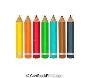 鉛筆, 集合, 上色, 插圖, 背景。, 矢量, 白色
