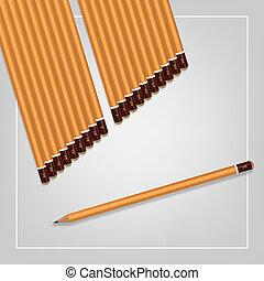 鉛筆, 集合, hardness., 圖像, 黃色, 背景。, 矢量, 各種各樣, 白色