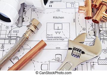 鉛錘測量, 房子, 安排, 計划, 工具