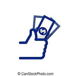 銀行, 符號, 向上, 矢量, like/thumbs, 圖象