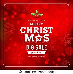 銷售, bokeh, 設計, 雪花, 紅的背景, 矢量, 歡樂, 概念, 聖誕節, 大