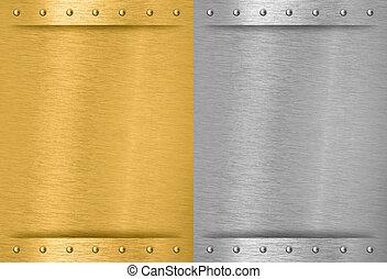 鋁, 縫, 金屬, 盤子, 黃銅, 鉚釘