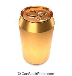鋁, 蘇打, 背景。, 啤酒, 或者, 金, 白色, 罐頭, 被隔离
