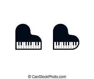 鋼琴, 心, 圖象, 成形, 古典