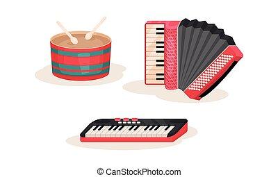 鋼琴, 集合, 手風琴, 樂器, 鍵盤, 矢量