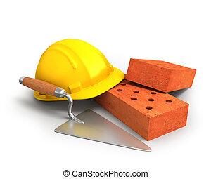 鋼盔, 塑料, 修平刀, 磚, 黃色