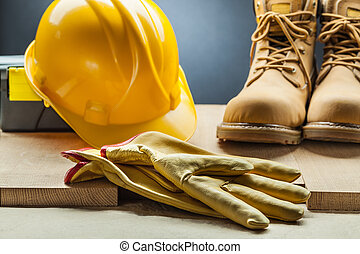 鋼盔, 工作, 皮革, 黃色, 建設, 手套, 靴子, 工具箱