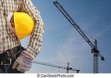 鋼盔, 建造者, 工人, 制服, 操作, 塔起重機