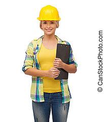 鋼盔, 微笑的婦女, 剪貼板