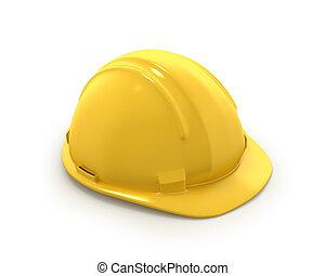 鋼盔, 或者, 塑料, 帽子, 黃色, 努力