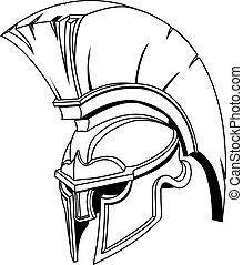 鋼盔, 或者, 特洛伊人, spartan, 希臘語, 插圖, 羅馬, gladiator