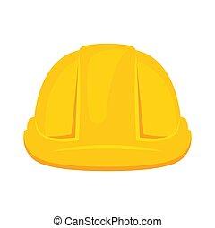 鋼盔, 插圖, icon., 建設, 矢量, 被隔离, 黃色