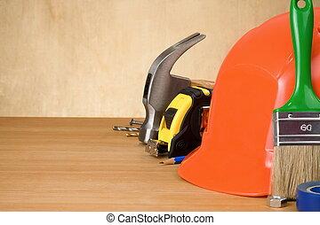 鋼盔, 板, 木頭, 工具, 集合