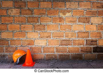 鋼盔, 磚, 站點, 建設, 安全主題