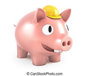 鋼盔, 穿, 黃色, 小豬, 小, 銀行