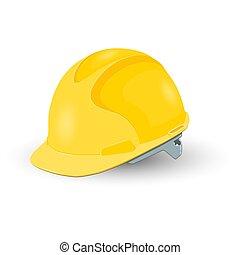 鋼盔, 被隔离, 黃色, 安全, 背景, 白色