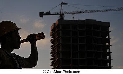 鋼盔, 黃色, 工人, 站點。, 喝, 建設