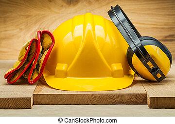 鋼盔, tools., 工作, earphones., 皮革, 黃色, 手套, 安全