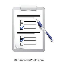 鋼筆, 剪貼板, 目錄, 檢查