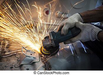 鋼, 使用, 工業, 工作, 火, 工業工人, 手, 主題, 切, 分裂, 制造, 工具