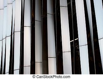 鋼, 圖案, 垂直, 現代, 彎曲, cladding, 面板, 時髦, 外部