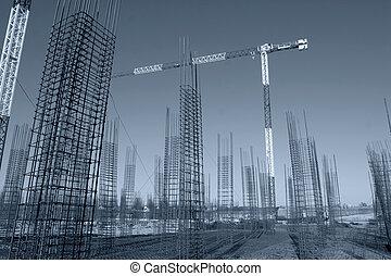 鋼, 實施, 站點, 向上, 混凝土, 建設, 上升, 框架