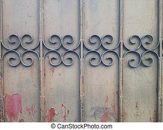 鋼, 彎曲, dacay, 老, 柵欄