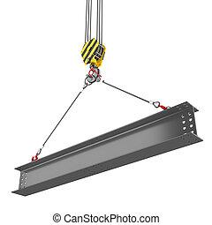 鋼, 橫樑, 起重機, 舉起, 鉤