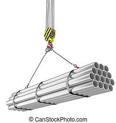 鋼, 鉤, 管子, 起重機, 舉起