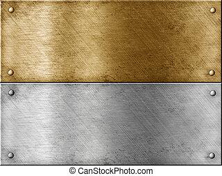 鋼, 集合, 金, (brass), 金屬, 包括, 盤子, (copper), 或者, 青銅
