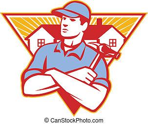 錘子, 做, 三角形, 武器, 建設, 橫渡, 房子, 工人, 背景, 集合, 裡面, 建造者, style., retro, 插圖