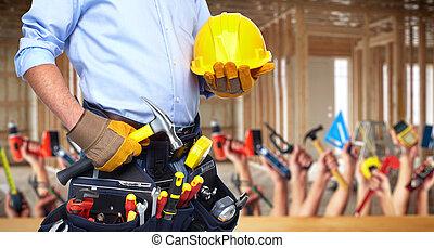 錘子, 工人, tools., 建設