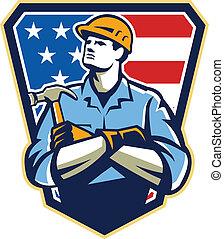 錘子, 建造者, 木匠, 美國人, retro, 冠
