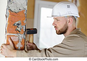 錘子, 洞, 做, 建設, 牆, 站點, 建造者
