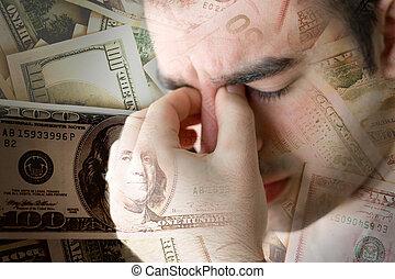 錢, 在上方, 著重強調