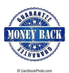 錢, 背, 保證, stamp.