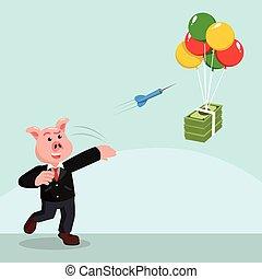 錢, 飛奔, 飛行, 事務, 豬