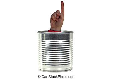 錫, 人, 罐頭, 容器, 手指