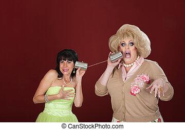 錫, 婦女, 電話, 罐頭