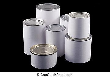錫, 白色, 黑色, 罐頭, 背景