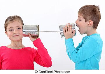 錫, 通訊, 罐頭, 孩子