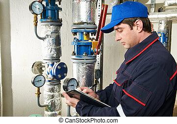 鍋爐, 工程師, repairman, 房間, 加熱