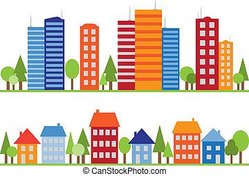 鎮, 城市, 圖案, seamless, 村莊, 或者