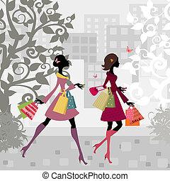 鎮, 女孩, 步行, 購物, 大約