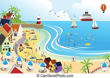 鎮, 海灘