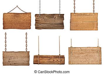 鏈子, 木制, 簽署, 繩子, 背景, 懸挂, 消息