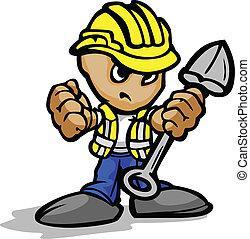 鏟, 圖像, 工人, 臉, 矢量, hardhat, 建設, 确定, 卡通