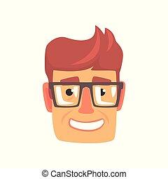 鏡片, 年輕, 插圖, 臉, 矢量, 卡通