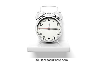 鐘, 牆, 架子, 警報, retro, 白色, 銀
