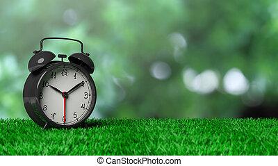 鐘, 警報, bokeh, 綠色, retro, 背景, 草, 摘要